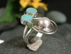Türkis-Perle Ring