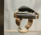 Achat Ring, schwarz-weiß Augenachat