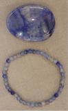 Blauquarz 4 mm Armband mit Daumenstein