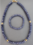 Saphir Armband, fac 4 x7 mm