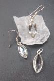 Bergkristall Ohrringe, fac. lanzettförmig
