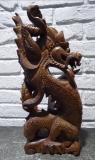 Schutz Drache mit Kugel Suar Holz